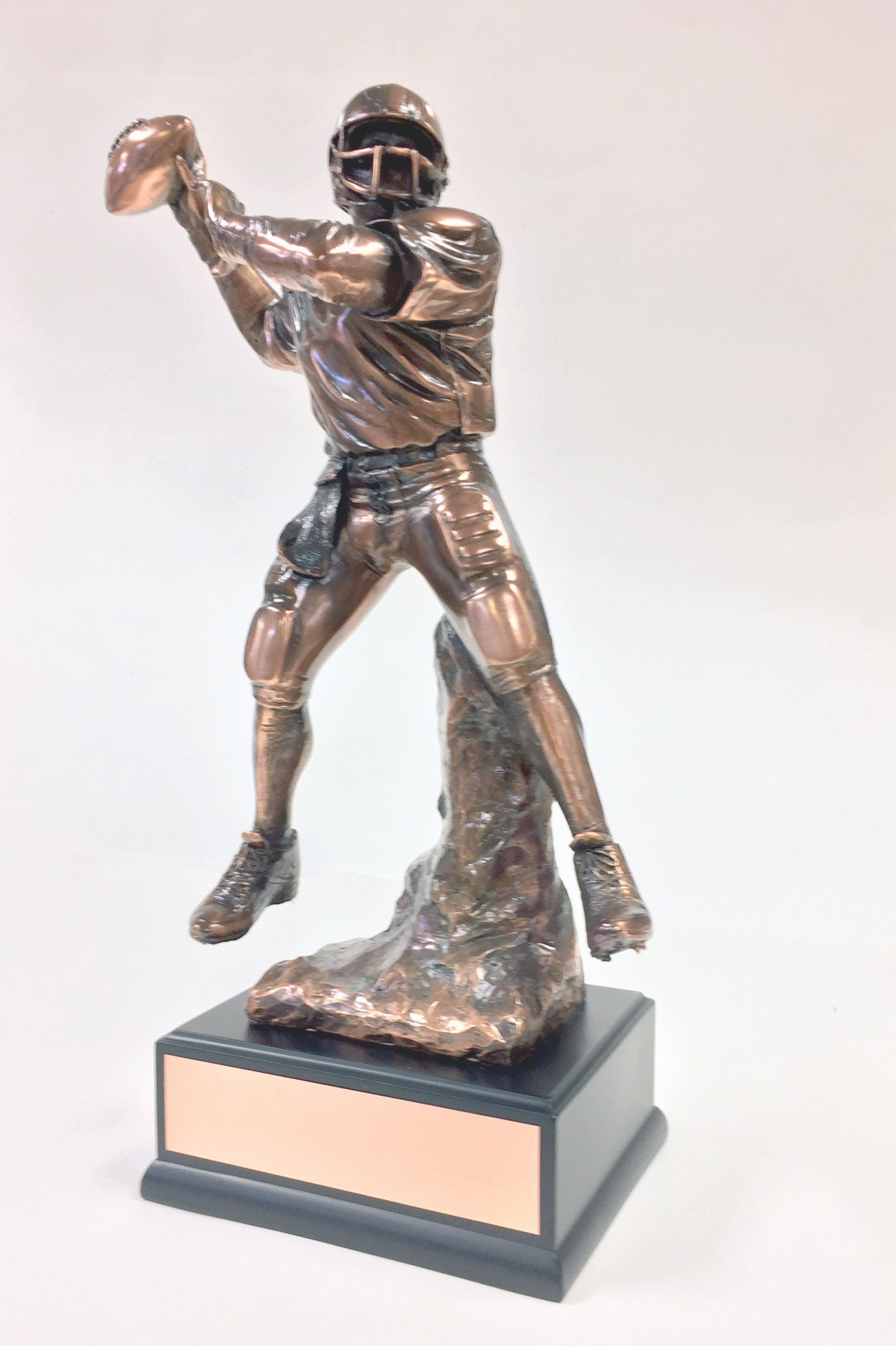 17 Quot Quarterback Copper Resin Trophy On Black Base